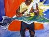 Space Walk, watercolor, 30x22, Judy Ballance